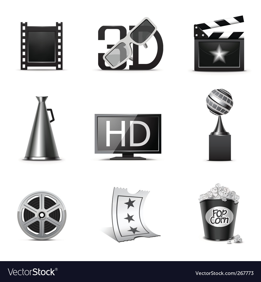 Movie icons bw series vector