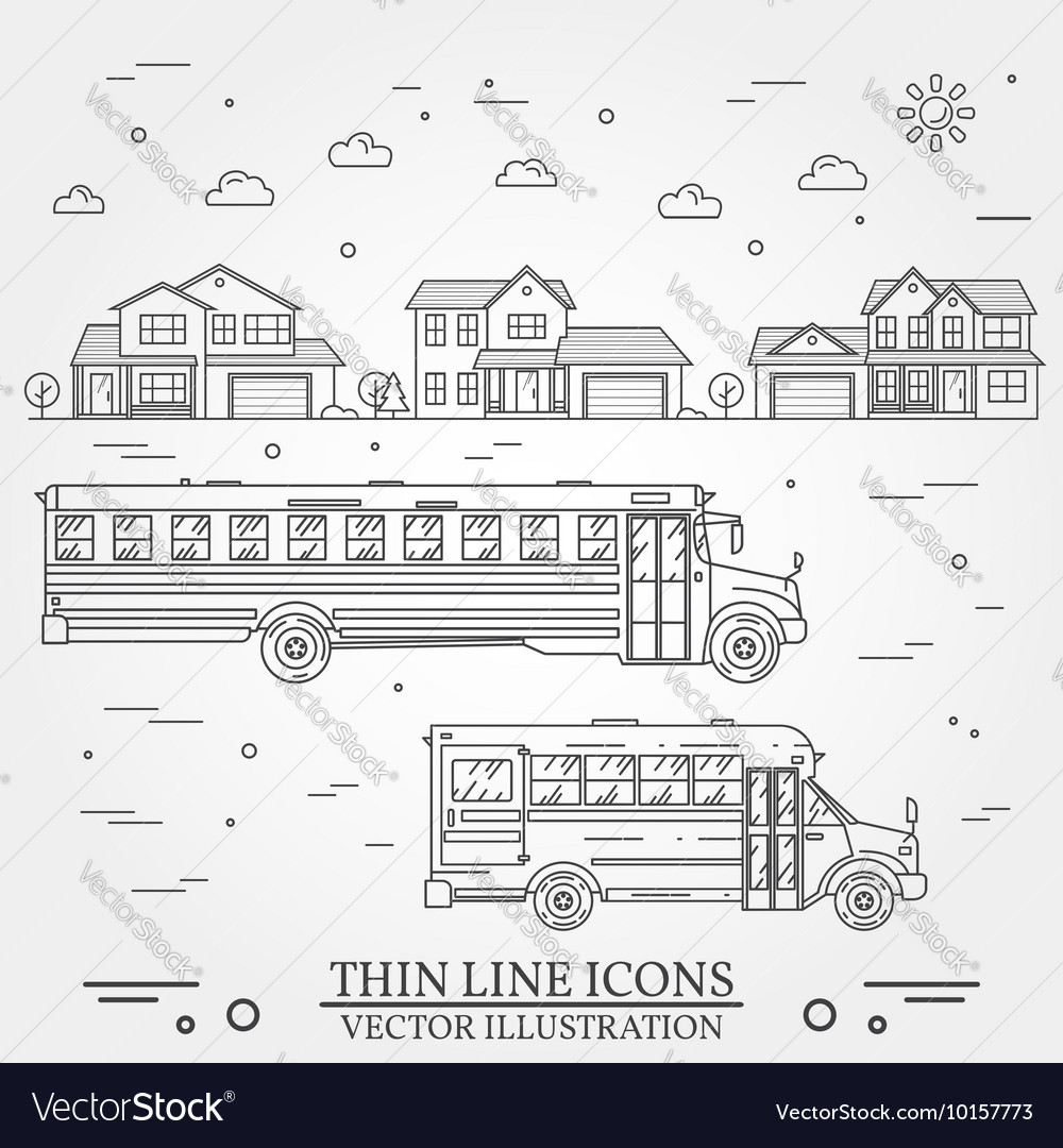 Neighborhood with homes and school buses on white vector