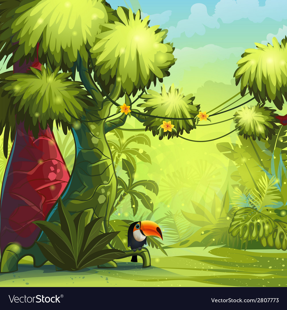 Sunny morning in the jungle with bird toucan vector