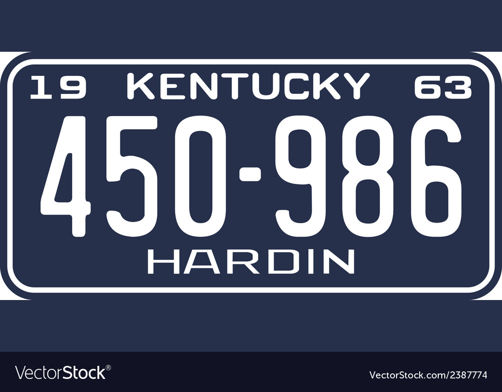 Kentucky 1963 license plate vector