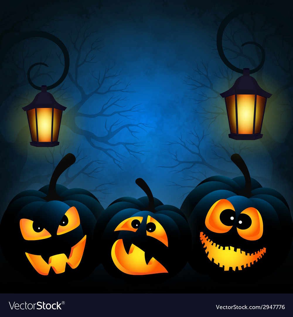 Background to the halloween with pumpkins vector