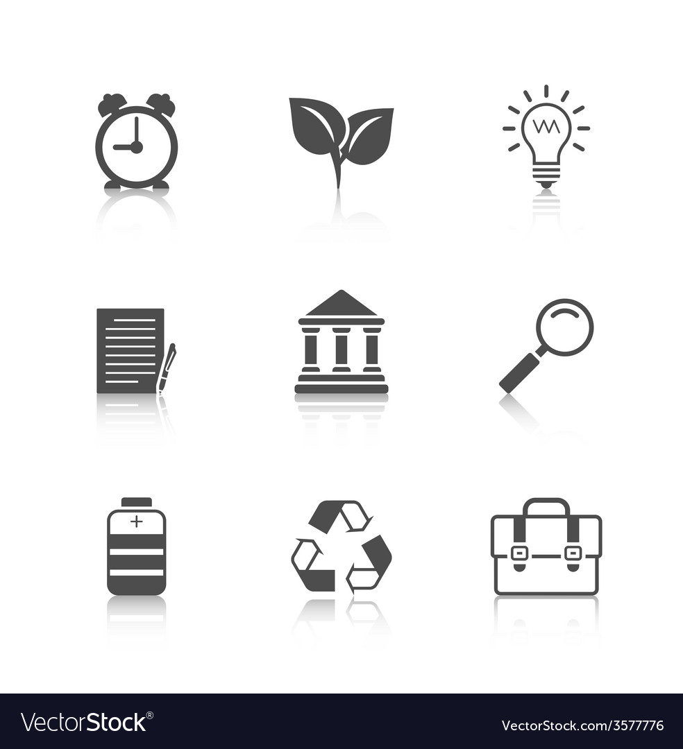 Flat icons set with reflection vector