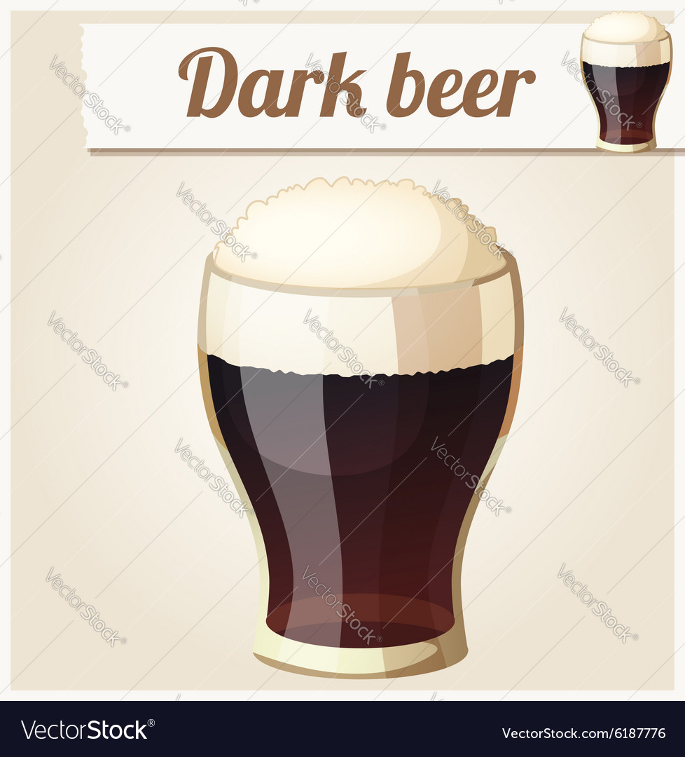 Glass of dark beer detailed icon vector