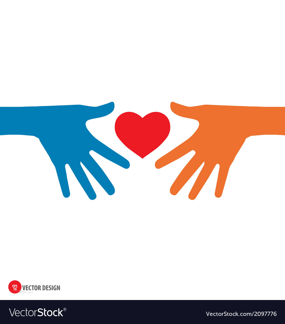 Hands holding heart vector