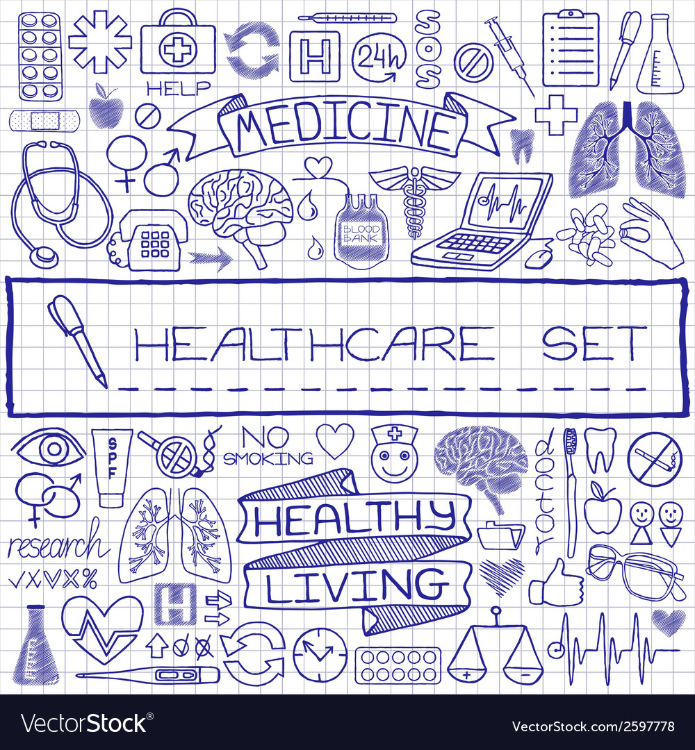 Doodle medical set of icons vector