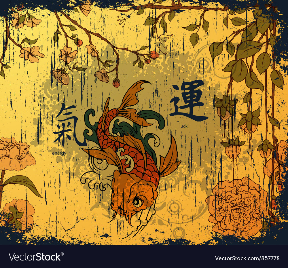 Japanese background with koi fish vector