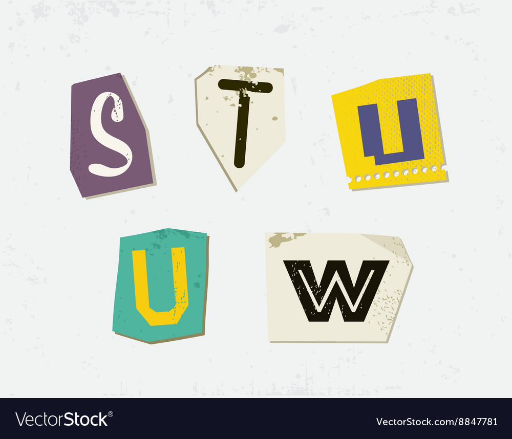 Colorful newspaper cut letters set vector
