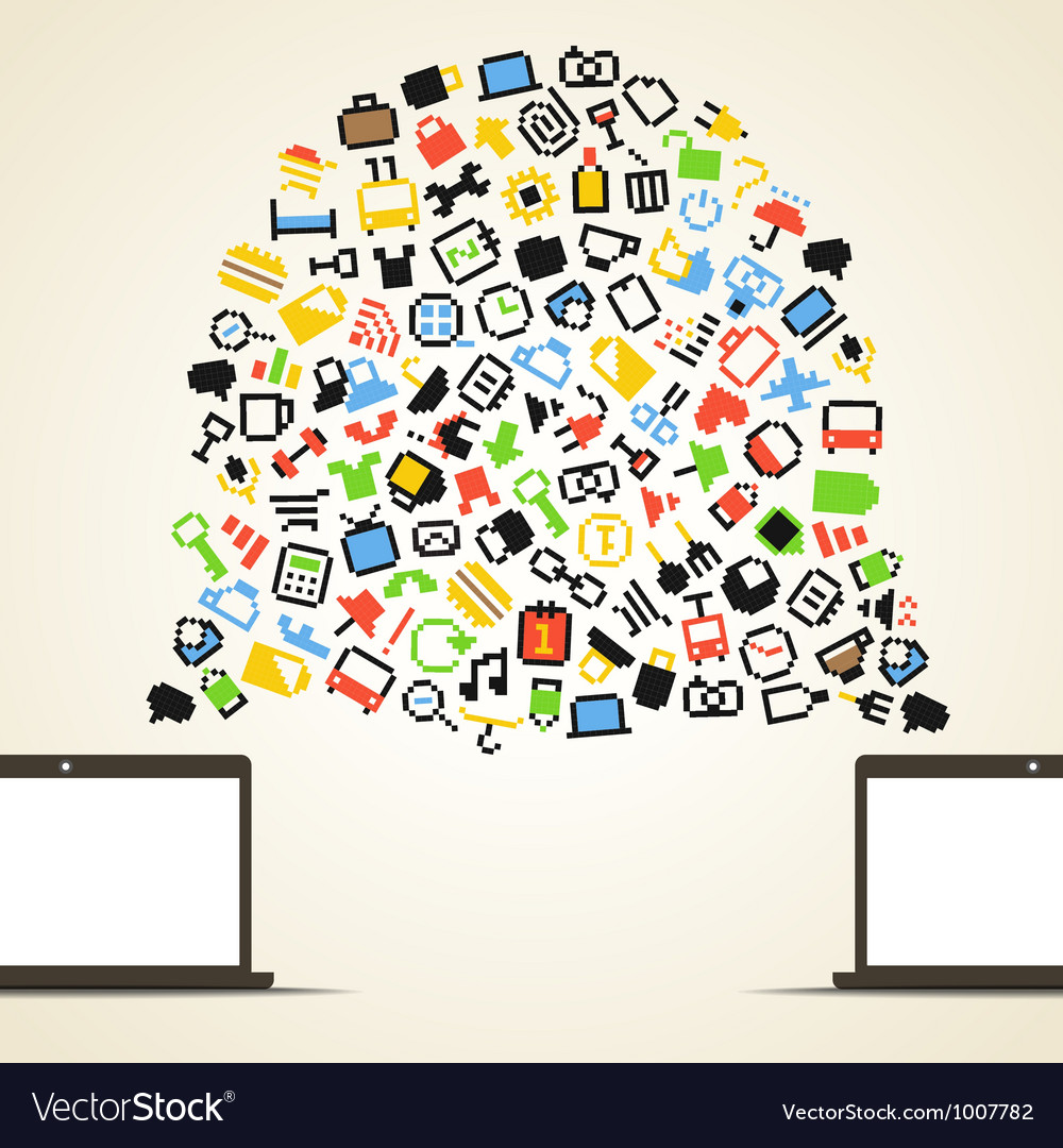 Abstract speech cloud and two connected computers vector