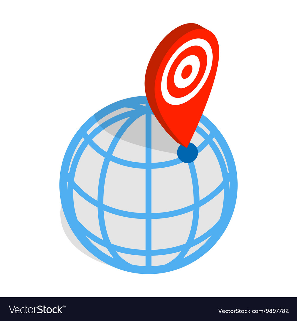 Globe and map pointer icon isometric 3d style vector