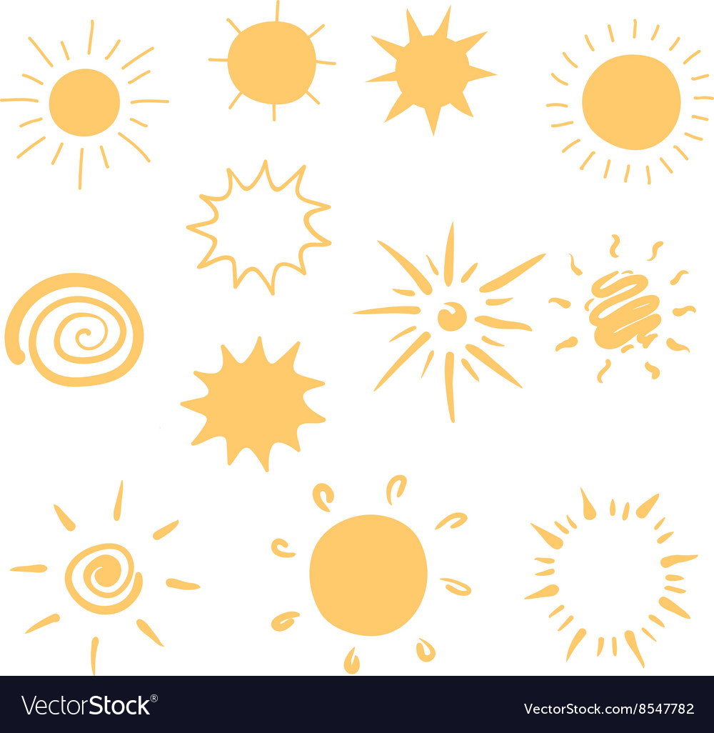 Set of handdrawn sun icons vector