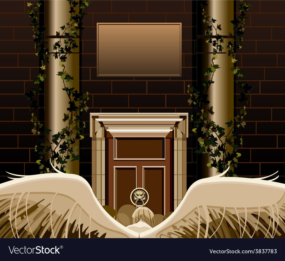 Angel with wings standing in front of a door vector