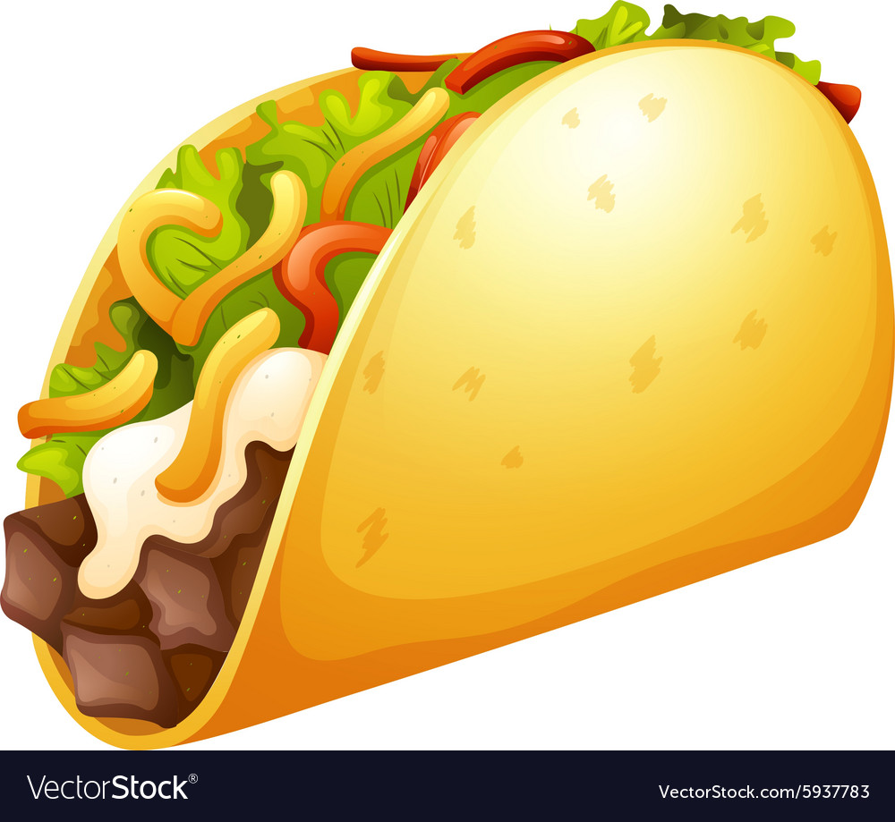 Beef taco with vegetables vector