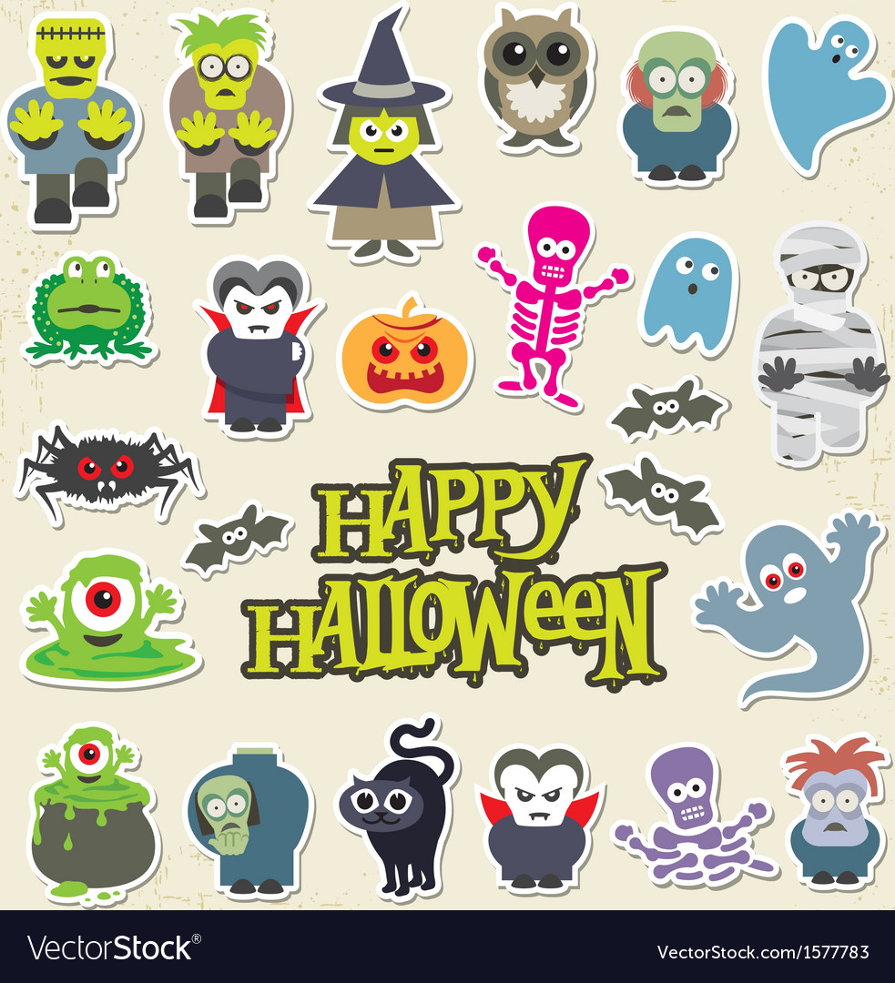 Halloween party icon design set vector