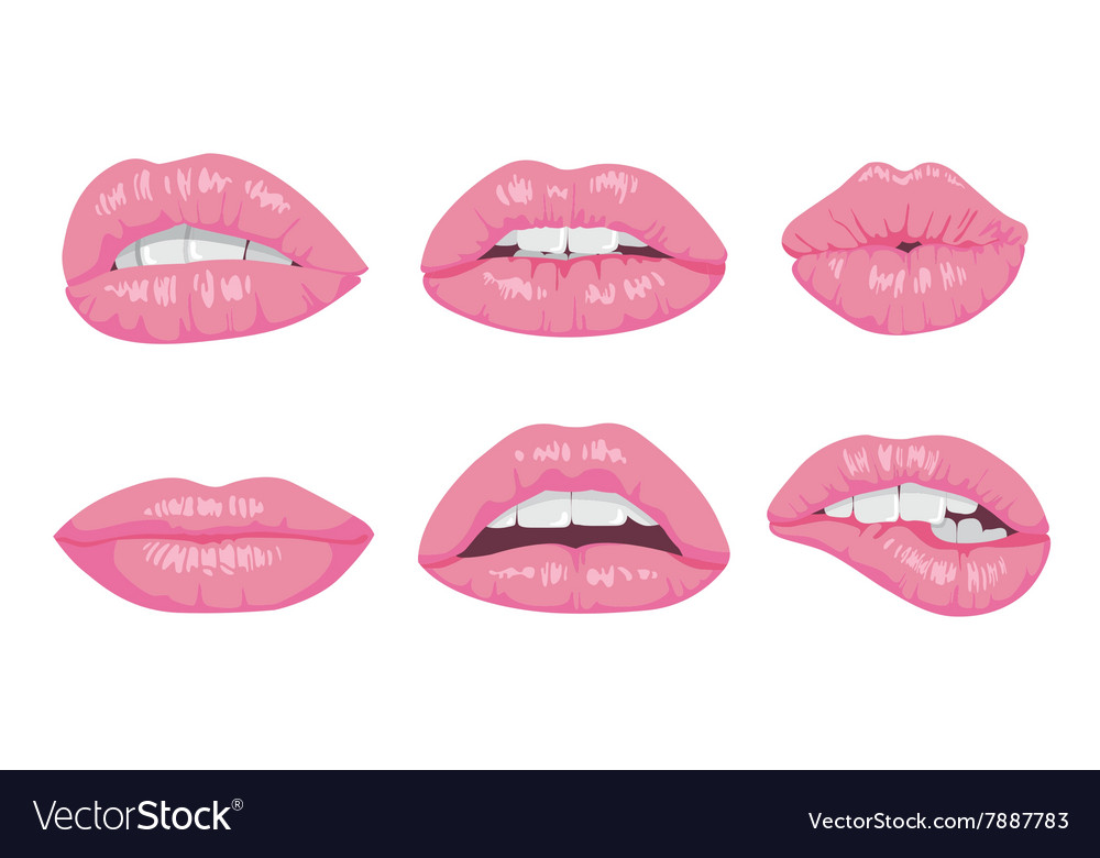 High detailed glossy lips and mouth vector