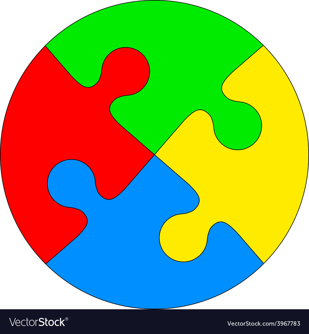 Jigsaw puzzle in the form of a colored circle vector