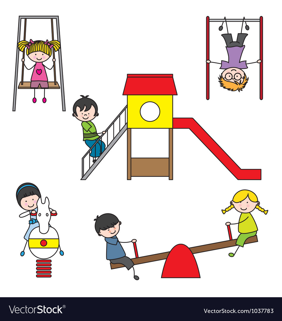 Kids playing at the park vector