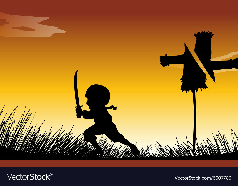 Silhouette ninja with sword vector