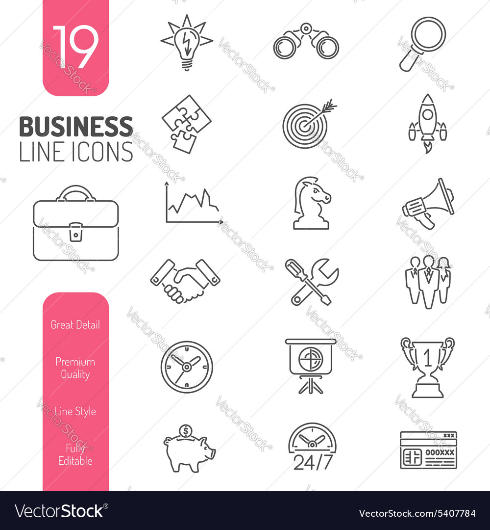Business strategy thin lines web icon set vector