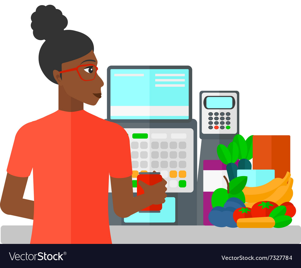 Cashier at supermarket checkout vector