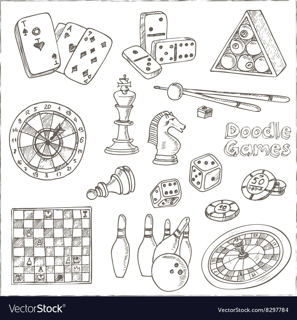 Hand drawn doodle games set chess piece casino vector