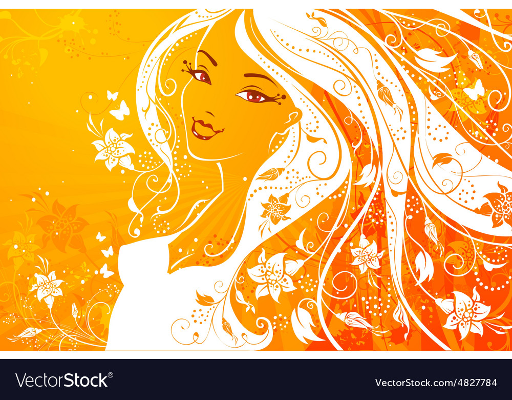 Woman with flowers in her hair vector