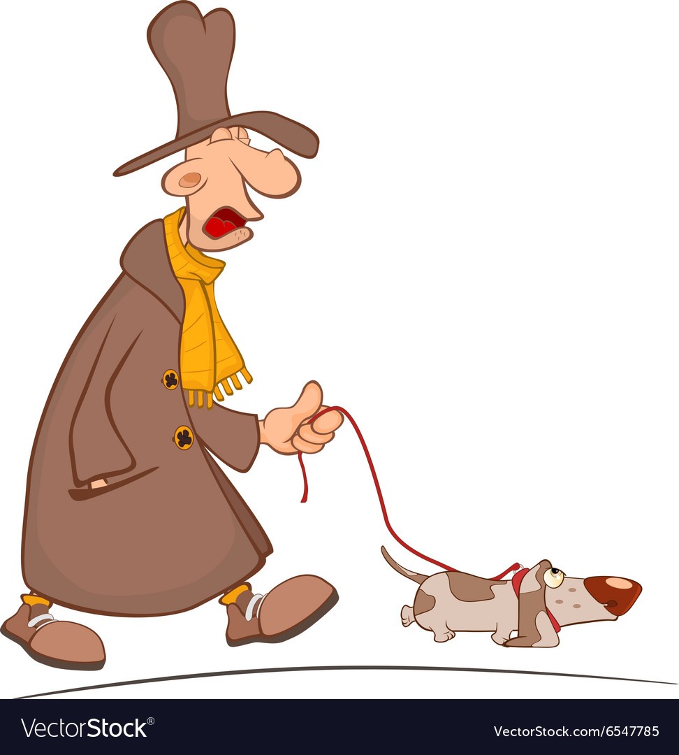 Crazy man taking his dog for walk cartoon vector