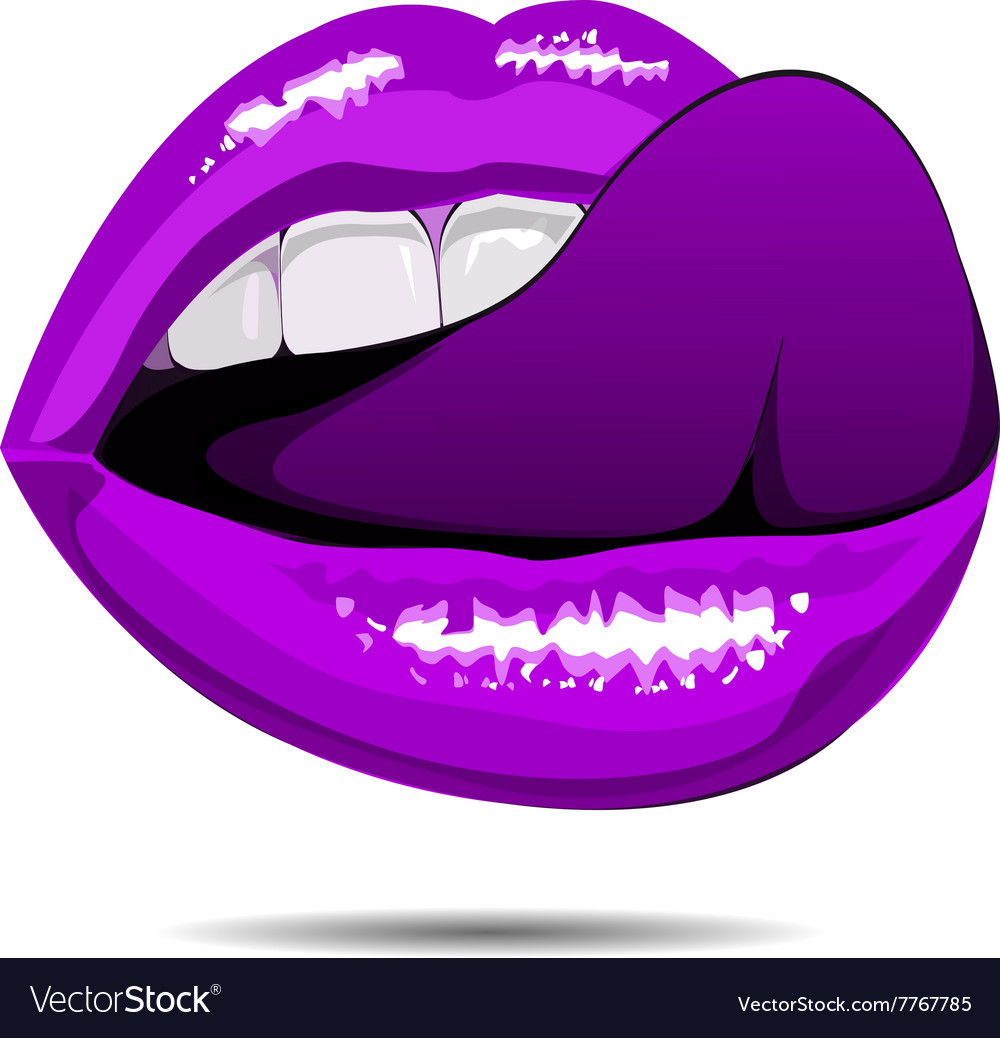 Female violet disco lips on white backgroud vector