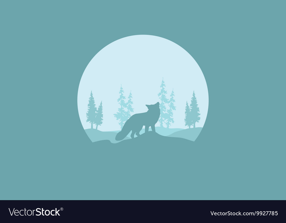 Silhouette of one fox vector