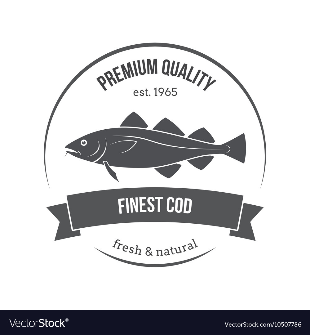 Cod fish emblem label vector