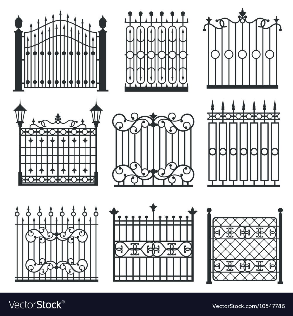 Metal iron gates grilles fences set vector