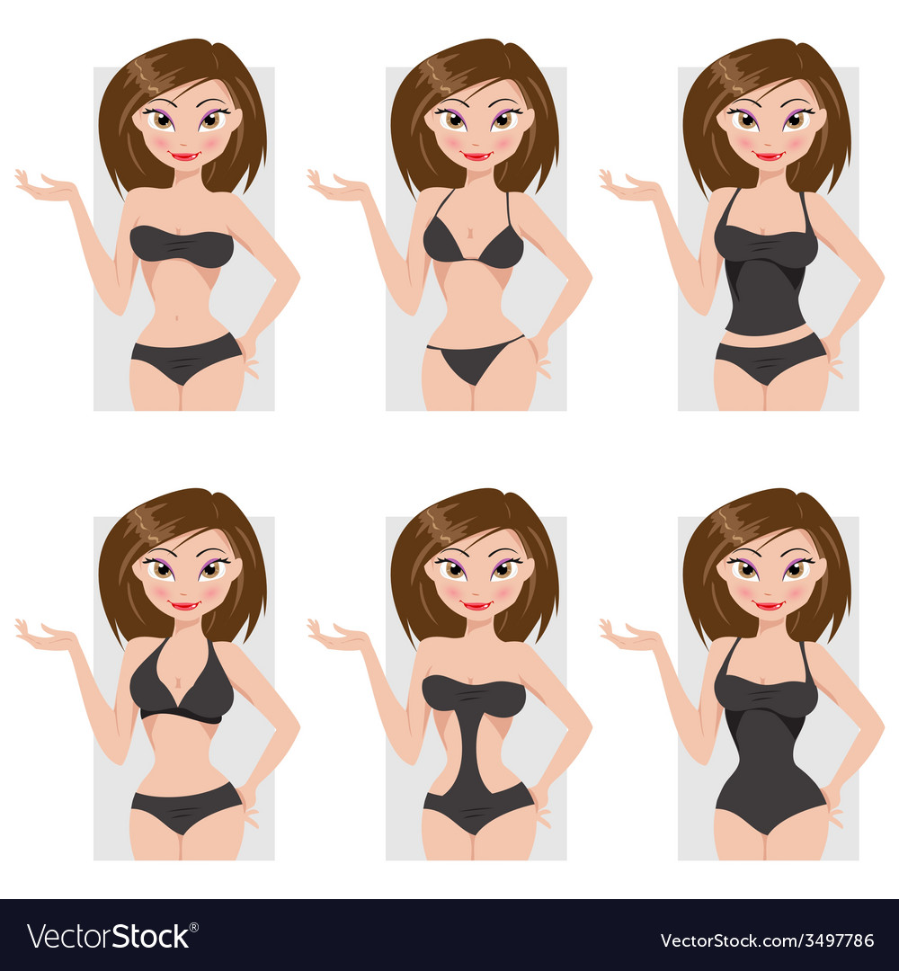 Types of swimsuits vector