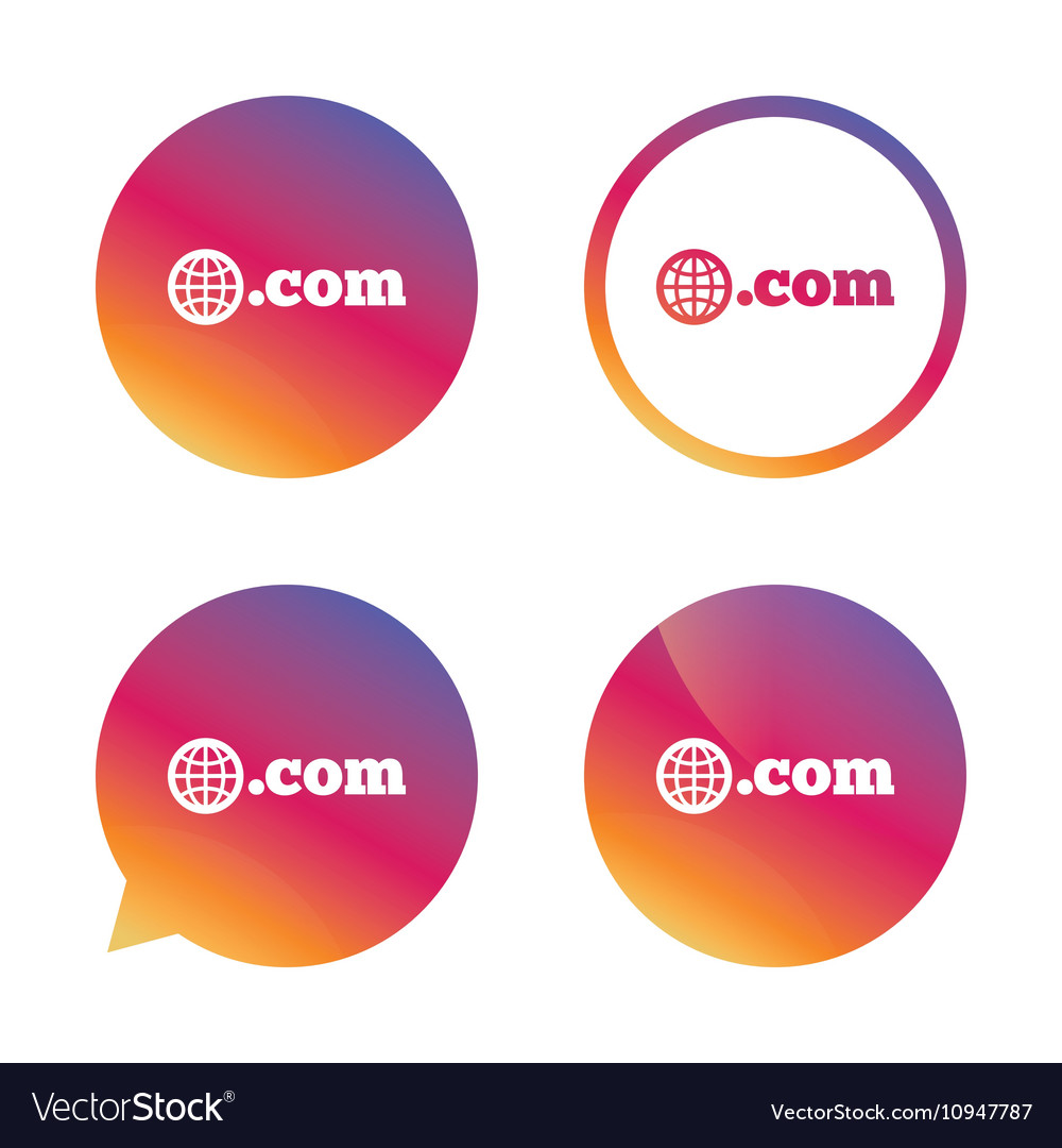 Domain com sign icon toplevel internet domain vector