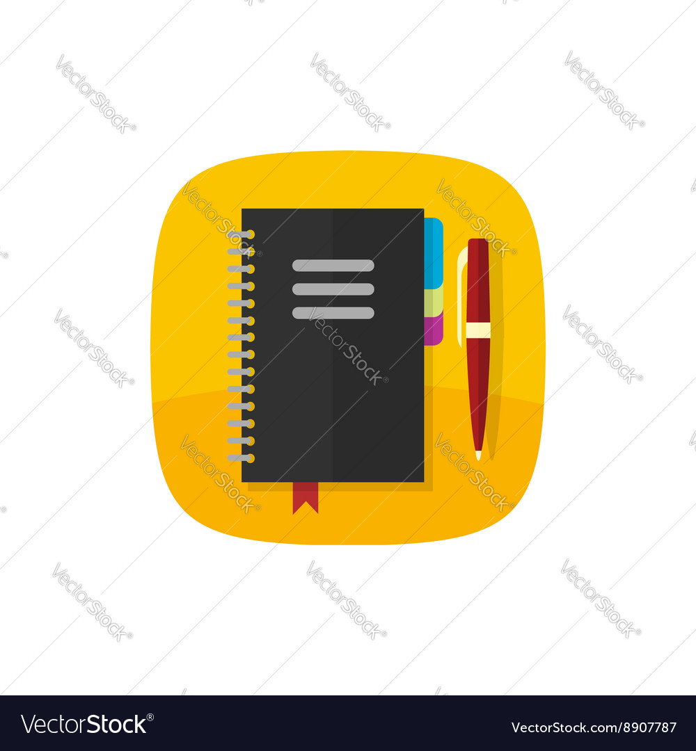 Ring notebook flat icon notepad vector