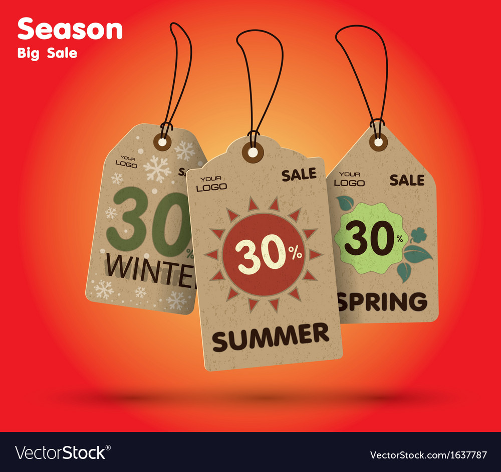 Season big sale labels vector
