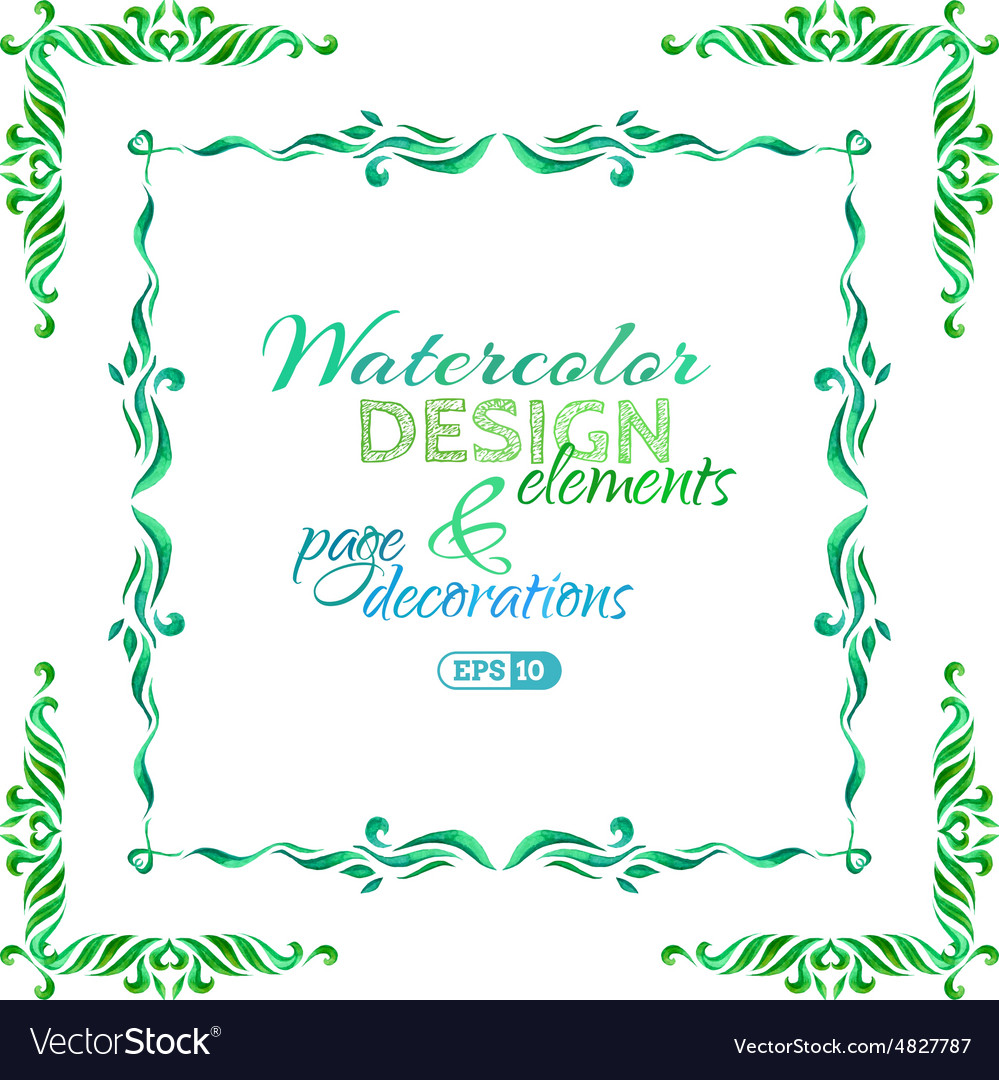 Watercolor page decorations vector