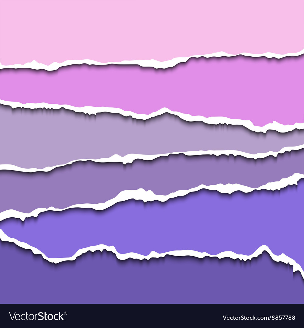 Colorful violet set of torn paper banners for vector