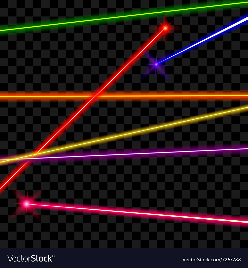 Laser beams on transparent plaid background vector