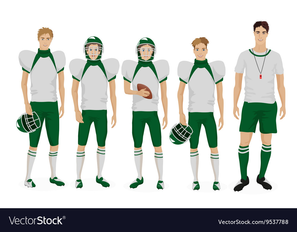 Young guys school american football team with vector