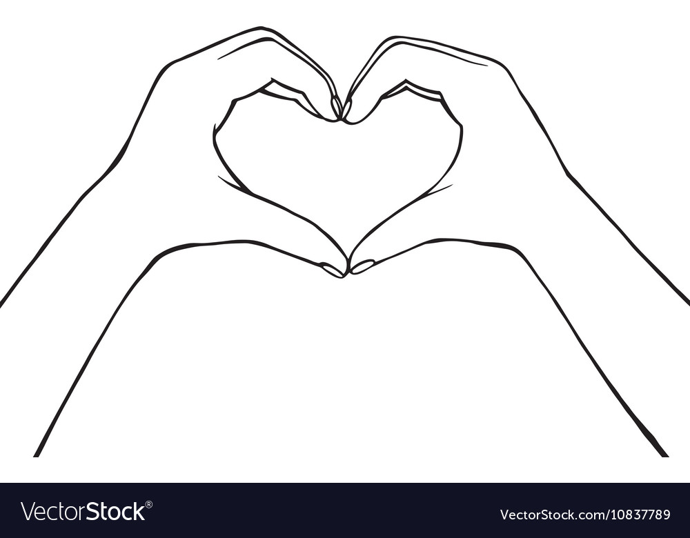 Hand making heart sign female vector