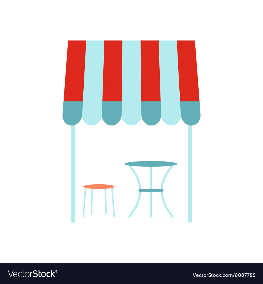 Street french cafe icon flat style vector
