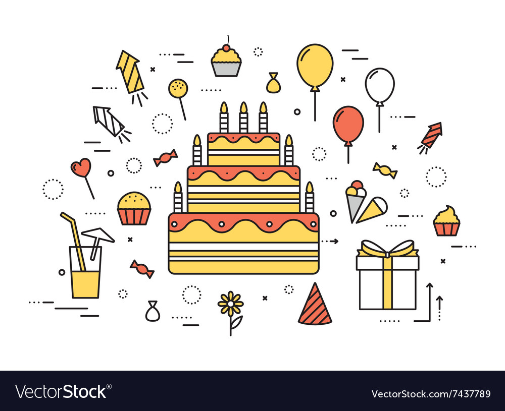 Thin line happy birthday party modern vector