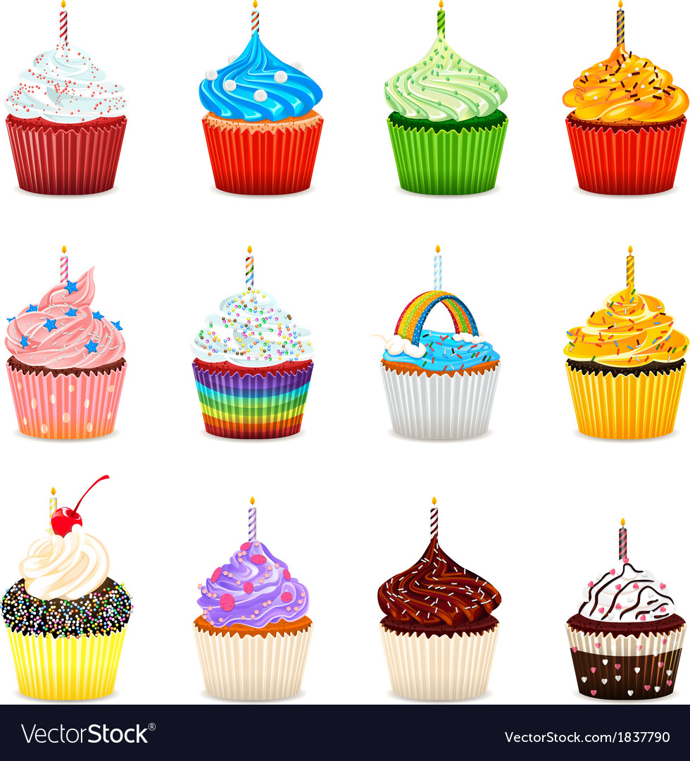 Cupcakes collection set vector