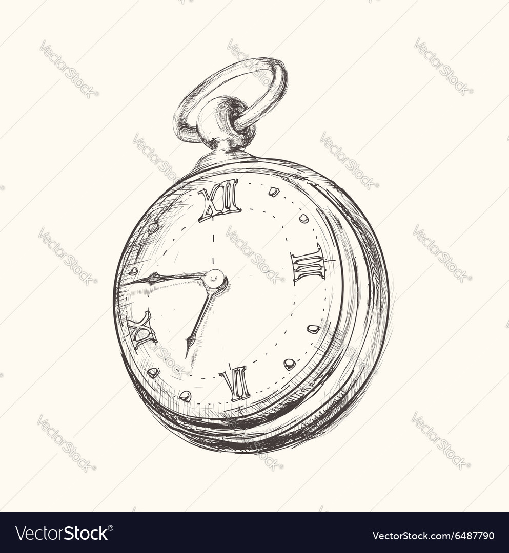 Hand drawn vintage watch clock sketch vector