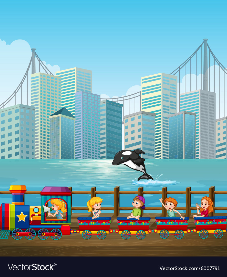 Children riding on train in the city vector
