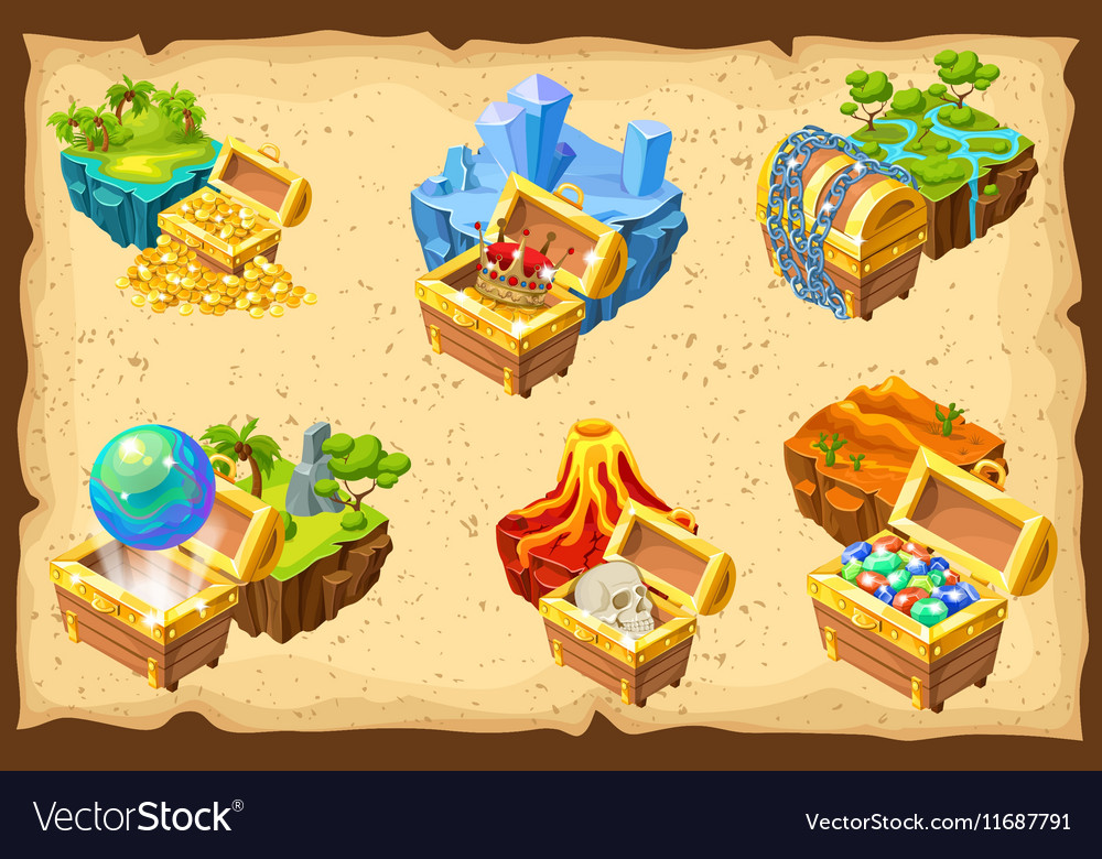 Gaming islands and hidden treasures set vector