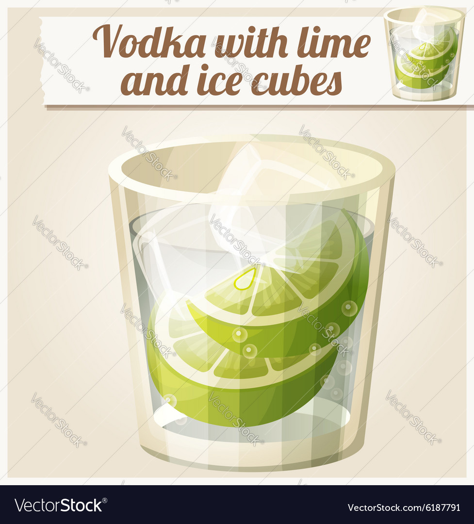 Vodka with lime and ice cubes detailed vector