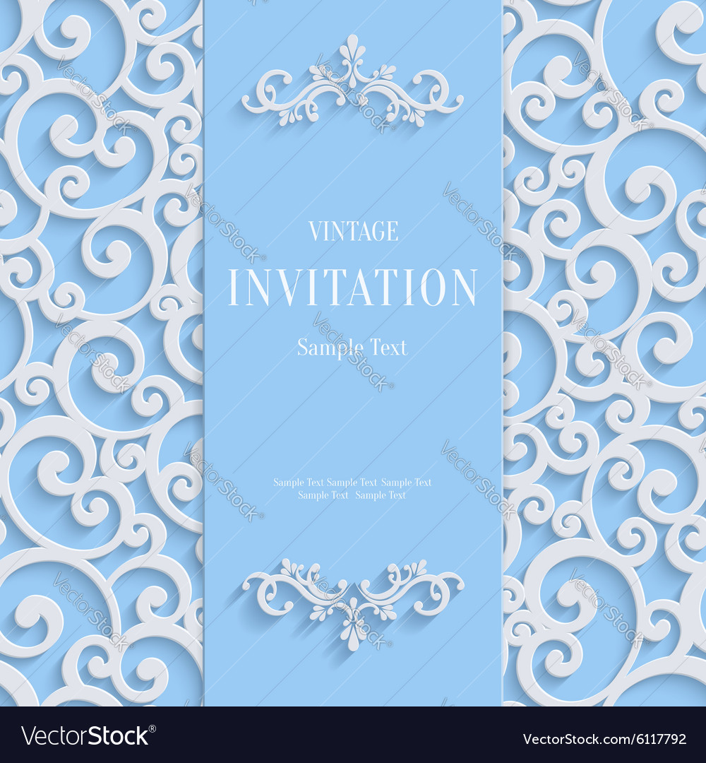 Blue 3d vintage invitation card with swirl vector