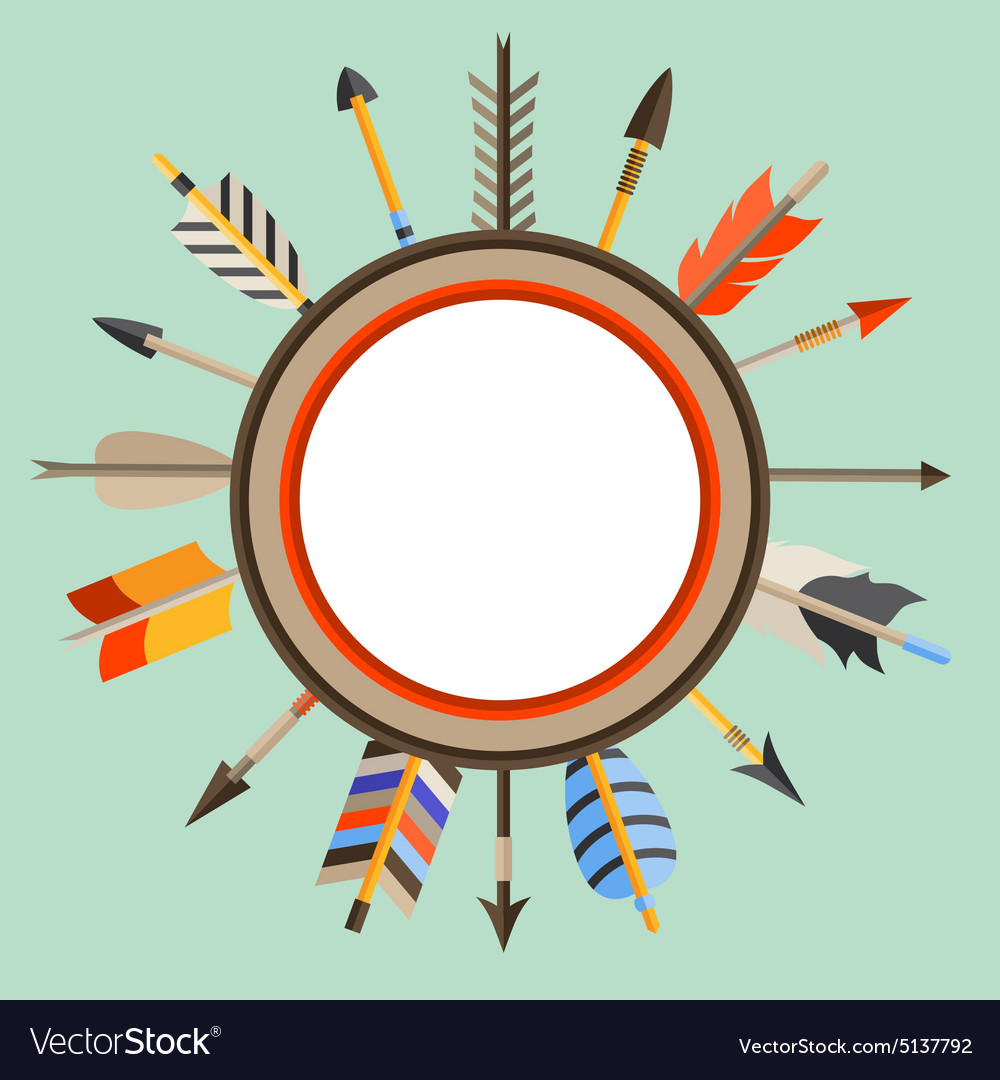 Ethnic background with indian arrows in native vector