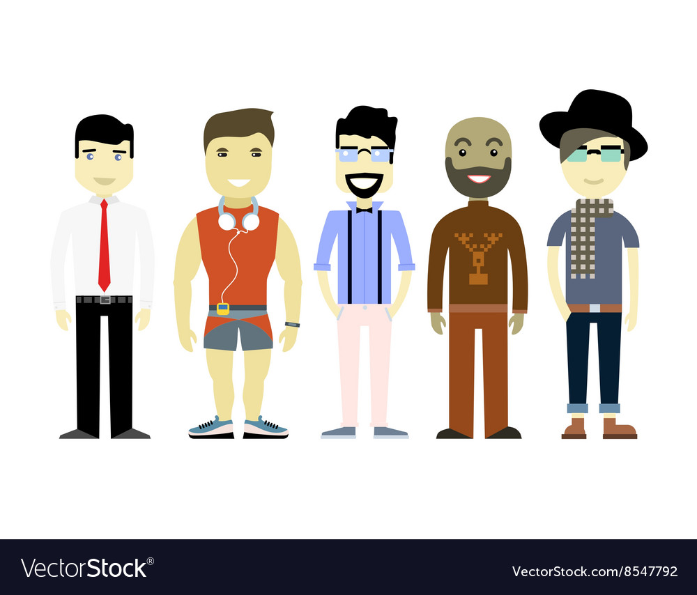 Types of men different characters set collection vector