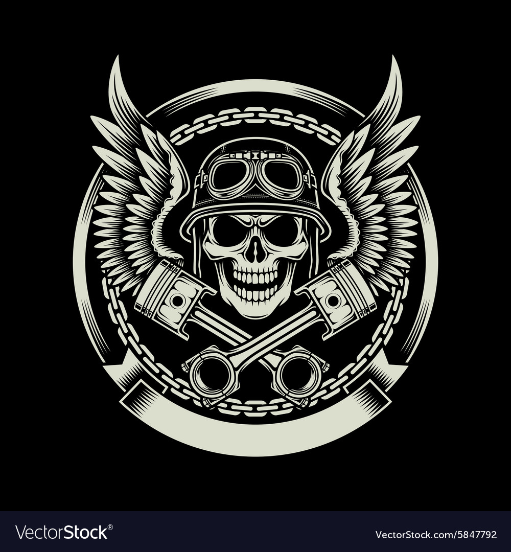 Vintage biker skull with wings and pistons emblem vector